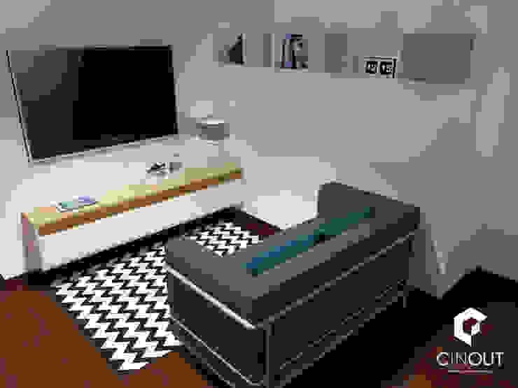 Escritório Apartamento Salas de estar modernas por CINOUT - Obras, Design e Manutenção Lda. Moderno