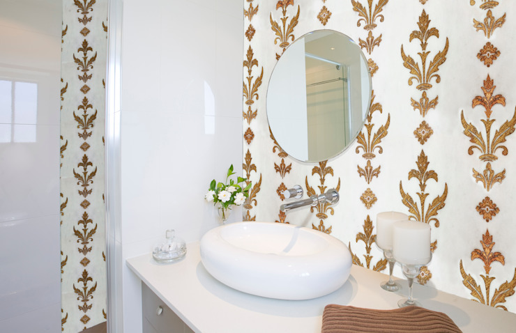Etched Bianco Dolomite Marble Tile in Gold Coffee Bias Mediterranean style bathrooms by Elalux Tile Mediterranean Marble