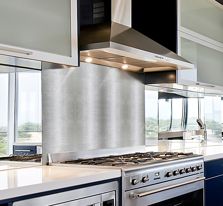 Etched White Marble Border in Silver, Shiny Modern Kitchen by Elalux Tile Modern Marble