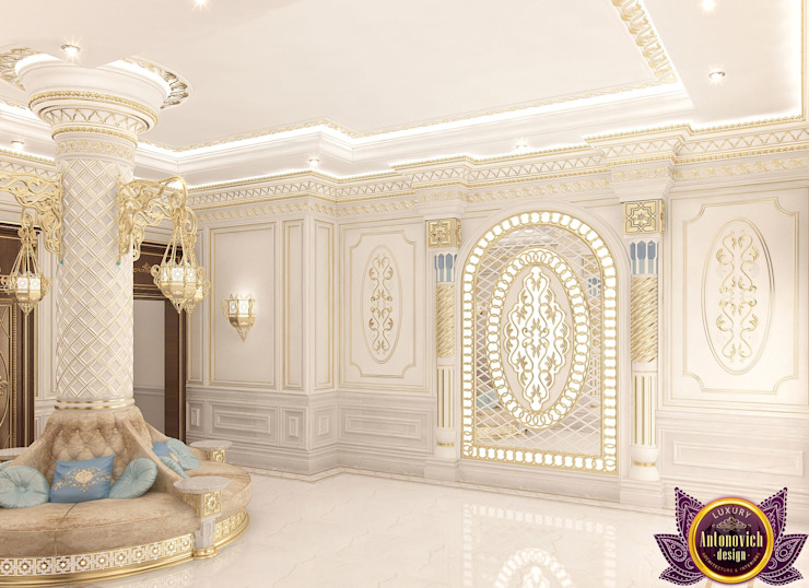House design of Katrina Antonovich Classic style corridor, hallway and stairs by Luxury Antonovich Design Classic