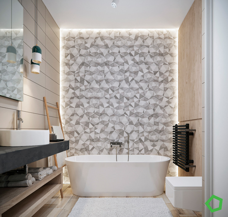 Bathroom Modern style bathrooms by Polygon arch&des Modern Tiles