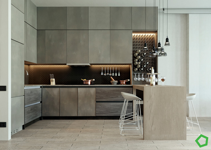 Kitchen by Polygon arch&des Modern Wood Wood effect