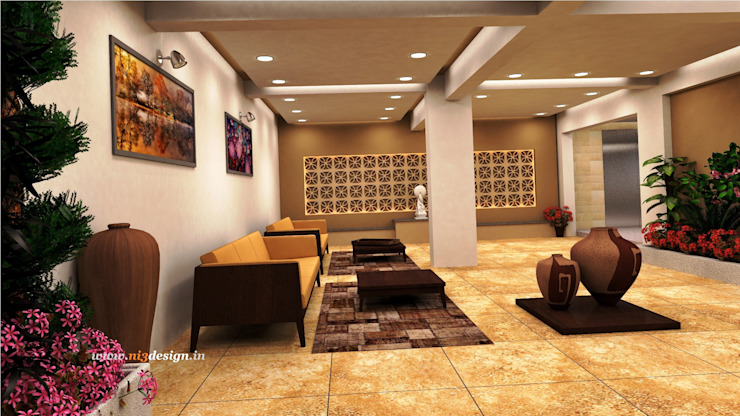Main Foyer Area Modern corridor, hallway & stairs by ni3design Modern