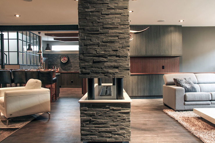 Bell fireplace Industrial style living room by Unit 7 Architecture Industrial