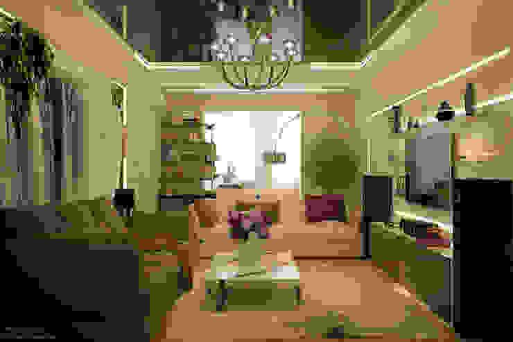 Дизайн гостиной в стиле постмодерн в квартире по ул. Казбекская, г.Краснодар Гостиная в стиле модерн от Студия интерьерного дизайна happy.design Модерн