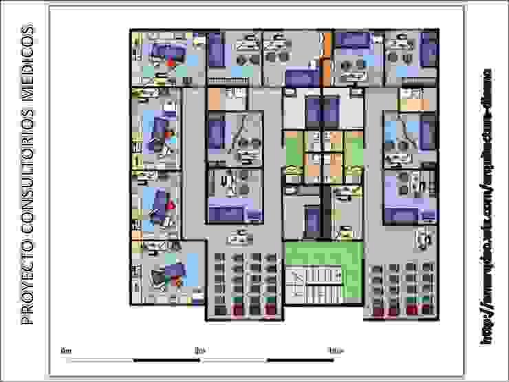 CONSULTORIOS MEDICOS Oficinas de estilo moderno de A.M. ARQUITECTURA +DISEÑO Moderno Granito