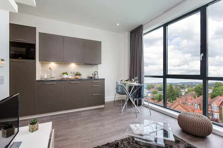 Modern Studio Apartment in London Salones de estilo moderno de homify Moderno