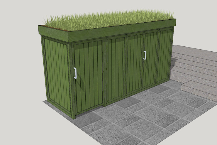 Bicycle and bin storage TreeSaurus Garages & sheds Solid Wood Green