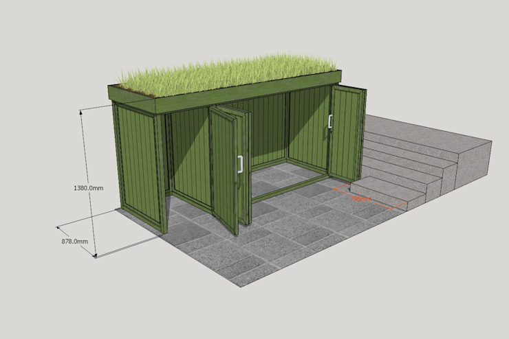 Bicycle and Bin store:  Garages & sheds by TreeSaurus,