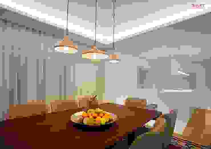 Vista geral sala de jantar + cozinha Salas de jantar modernas por B.loft Moderno