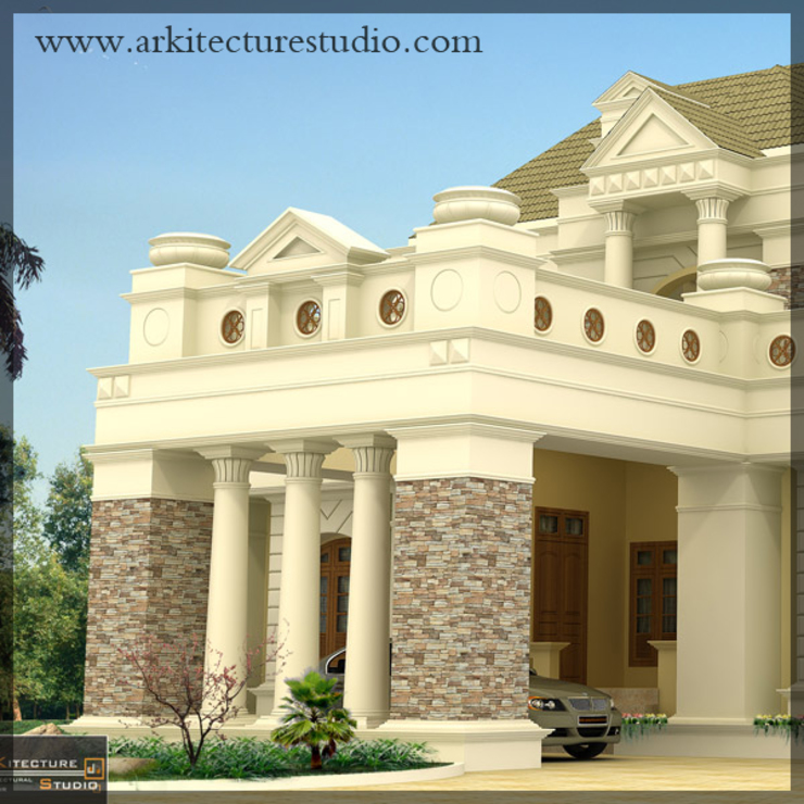 colonial style luxury indian home design Colonial style houses by Arkitecture studio,Architects,Interior designers,Calicut,Kerala india Colonial