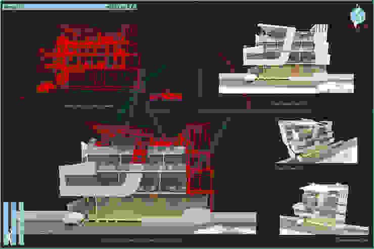 Perspectivas atmosféricas - vistas en líneas + Oclusión Casas modernas: Ideas, imágenes y decoración de CASTELLINO ARQUITECTOS (+) Moderno Hormigón