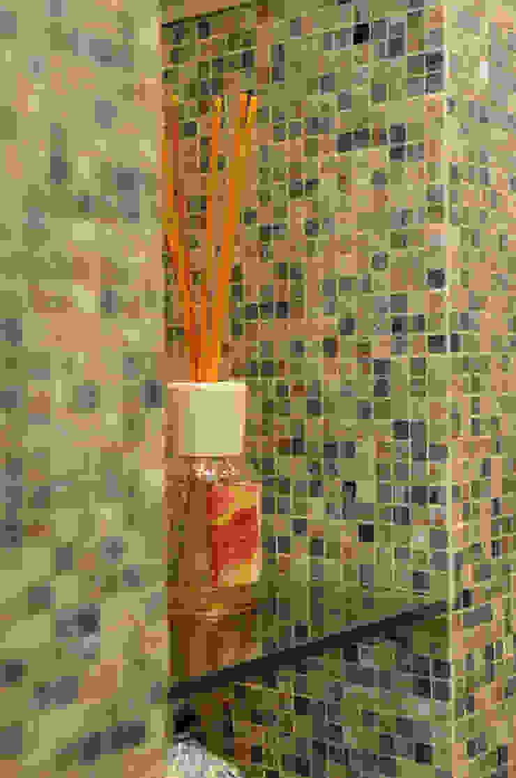 Ristrutturazione appartamento 100 mq Fabiola Ferrarello ห้องน้ำ กระจกและแก้ว Beige