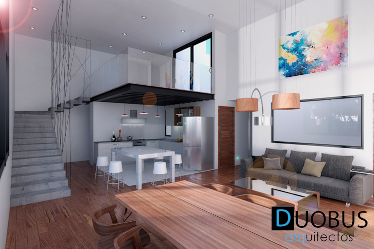interior depto. Salones de estilo moderno de DUOBUS M + L arquitectos Moderno