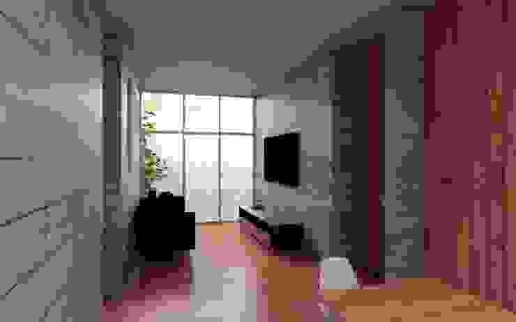 Casa Orta Salas multimedia minimalistas de Lozano Arquitectos Minimalista Concreto