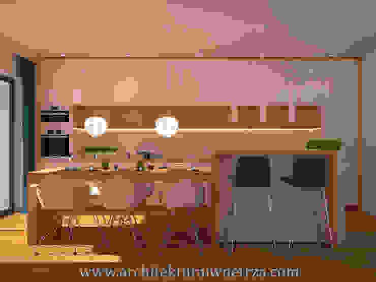 Cuisine moderne par Projektowanie wnętrz Oliwia Drobnicka Moderne Bois Effet bois
