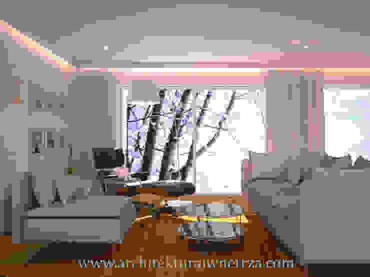Salon moderne par Projektowanie wnętrz Oliwia Drobnicka Moderne Bois Effet bois