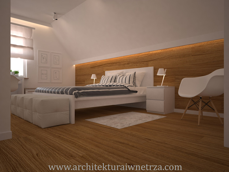 Chambre moderne par Projektowanie wnętrz Oliwia Drobnicka Moderne Bois Effet bois