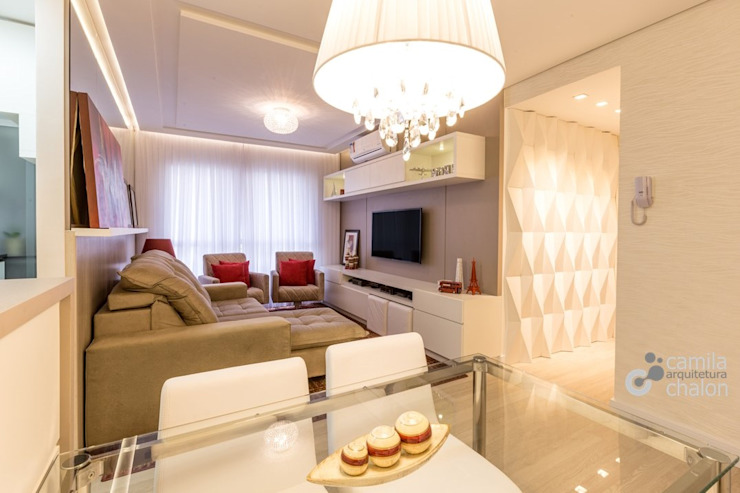 Sala de Estar e Jantar Integrados Camila Chalon Arquitetura Salas de estar modernas
