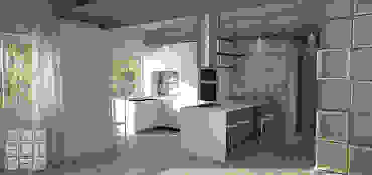 Simulazione ambiente open space con vista su cucina da soggiorno MakeLiveDesign