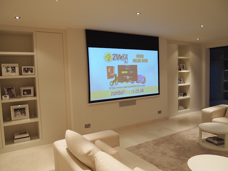 Bespoke 50mm Display, Audio Visual and storage units with LED's Designer Vision and Sound: Bespoke Cabinet Making Living roomCupboards & sideboards