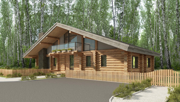 Country style house by Тимберлог Timberlog Country Wood Wood effect