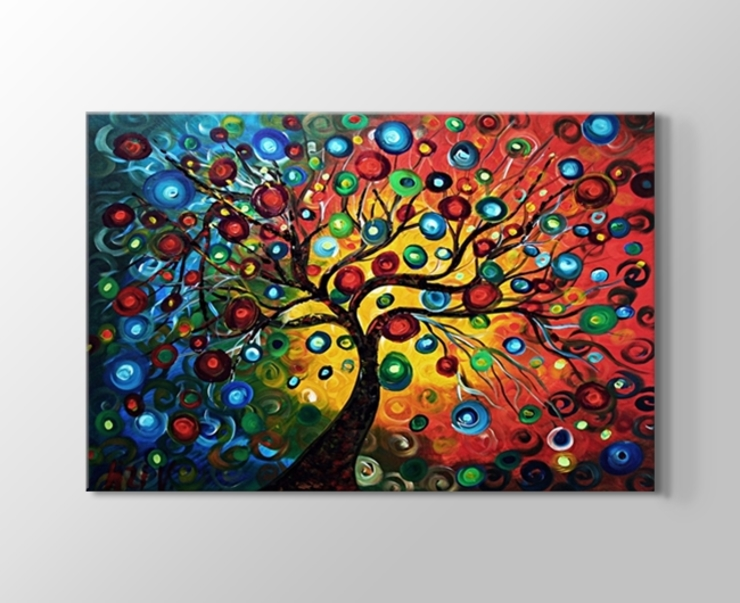 Renkli soyut ağaçlar kanvas tablosu de Tablohane.com