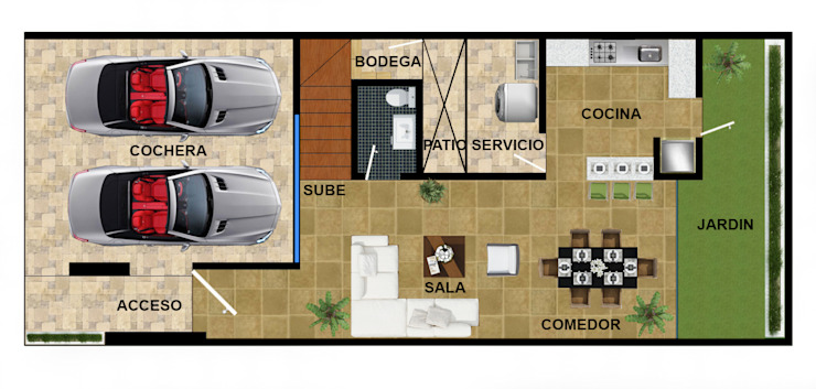 p.b. actual ambas casas. de DUOBUS M + L arquitectos Moderno