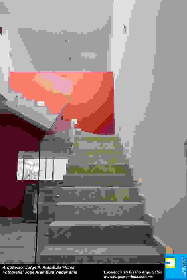 ESCALERA PRINCIPAL Pasillos, vestíbulos y escaleras minimalistas de Excelencia en Diseño Minimalista Hierro/Acero