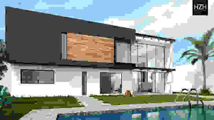 Diseño de fachada posterior. Casas modernas de HZH Arquitectura & Diseño Moderno