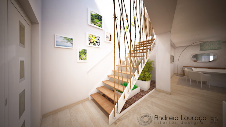Pasillos, vestíbulos y escaleras de estilo moderno de Andreia Louraço - Designer de Interiores (Contacto: atelier.andreialouraco@gmail.com) Moderno