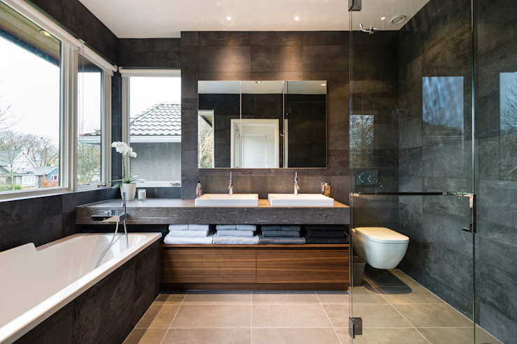 Master Ensuite Alice D'Andrea Design Modern Bathroom Tiles Black