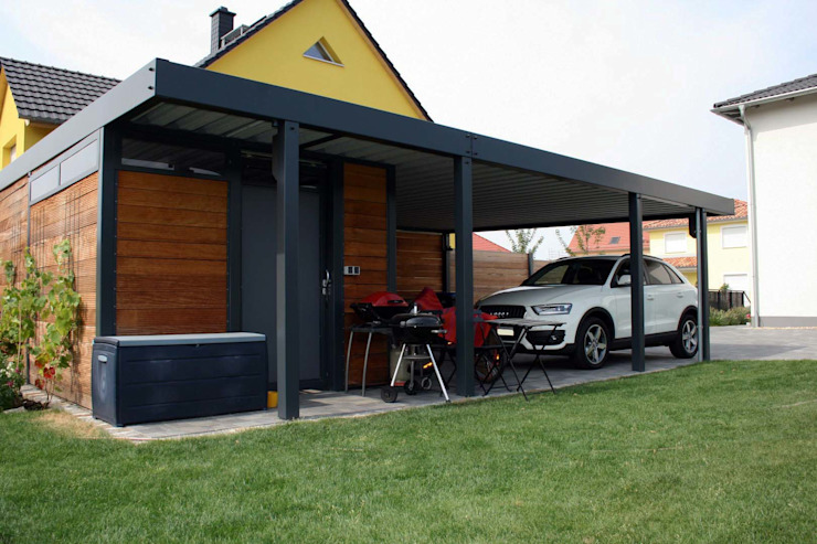 Modern garage/shed by homify Modern