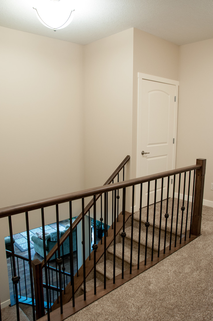 Upstairs Corridor Country style corridor, hallway& stairs by Drafting Your Design Country Wood Wood effect