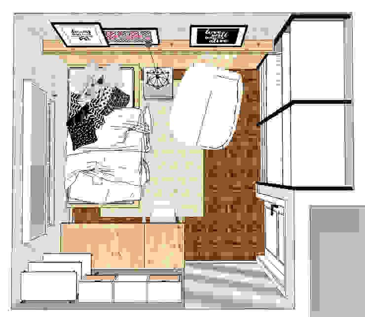 Scandinavian style bedroom by Andressa Cobucci Estúdio Scandinavian Wood Wood effect