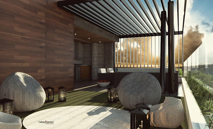 CASA IROTAMA Balcones y terrazas de estilo moderno de Cabas/Garzon Arquitectos Moderno
