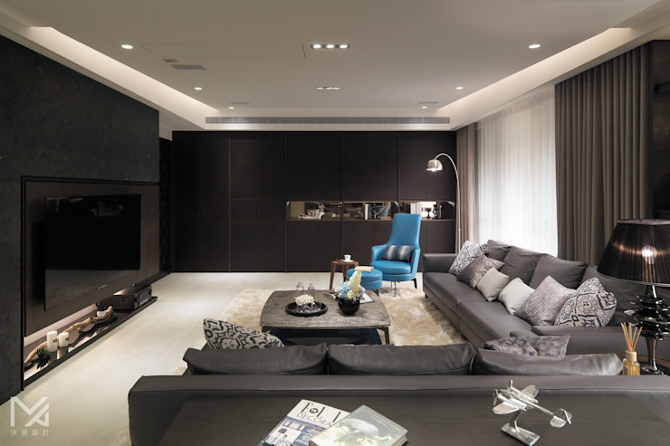 凝聚 现代客厅設計點子、靈感 & 圖片 根據 沐朋設計 現代風