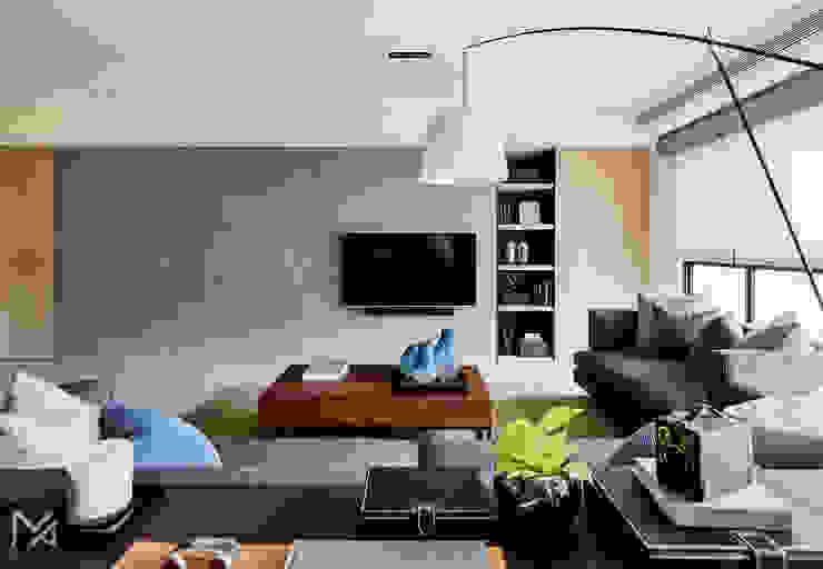 土城-董宅 现代客厅設計點子、靈感 & 圖片 根據 沐朋設計 現代風