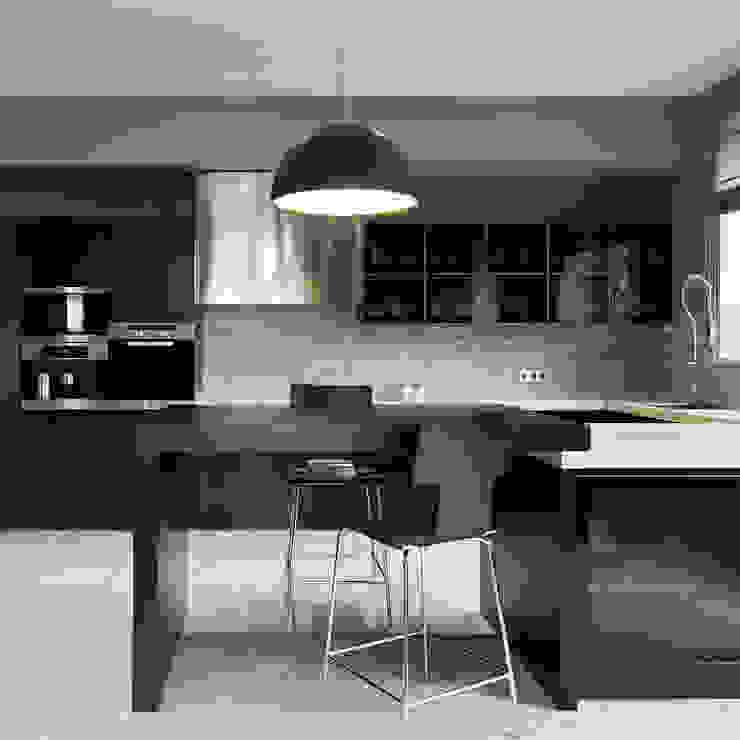Black Simplistic Kitchen Gracious Luxury Interiors Modern kitchen Black