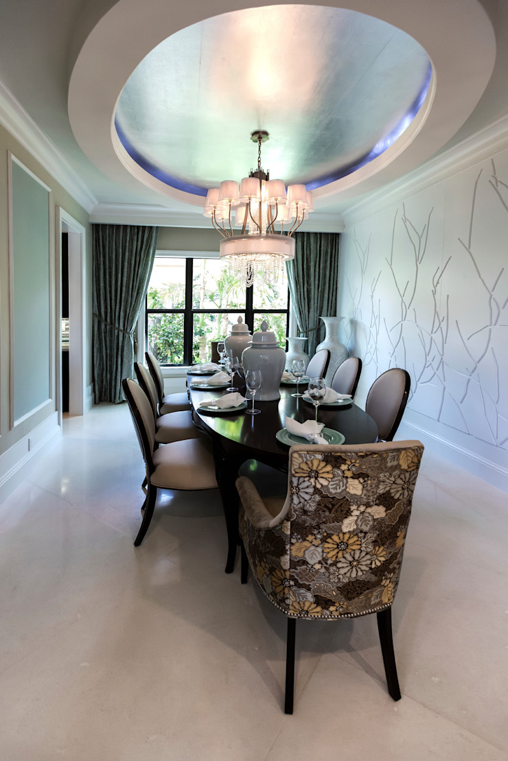 Family Dining Space Gracious Luxury Interiors Classic style dining room Multicolored