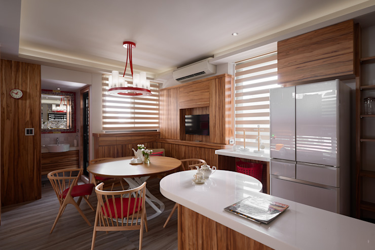 Eclectic style dining room by 磨設計 Eclectic Solid Wood Multicolored