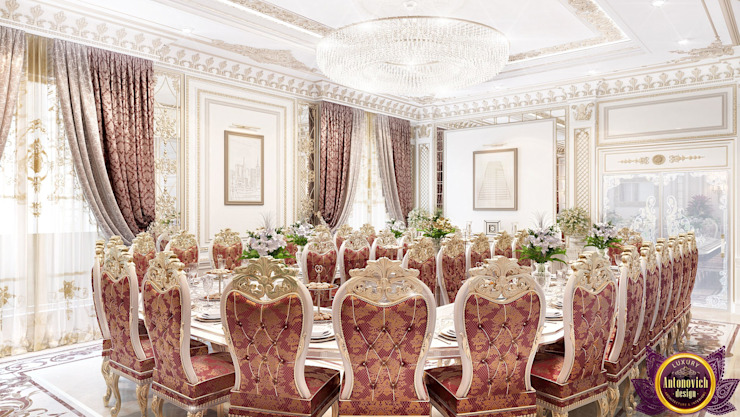 ​ Dining room interior of Katrina Antonovich Classic style dining room by Luxury Antonovich Design Classic