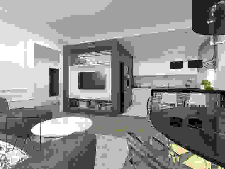 SZTYBLEWICZ ARCHITEKCI Classic style living room Wood Grey