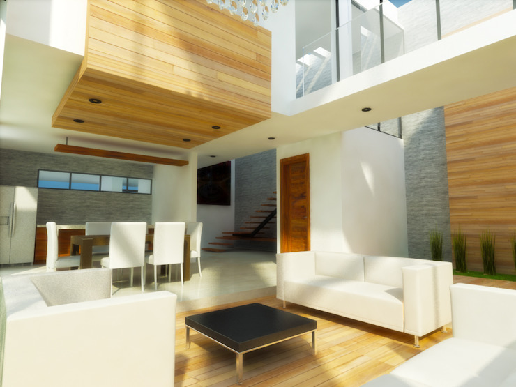 Living room by DLR ARQUITECTURA/ DLR DISEÑO EN MADERA, Minimalist