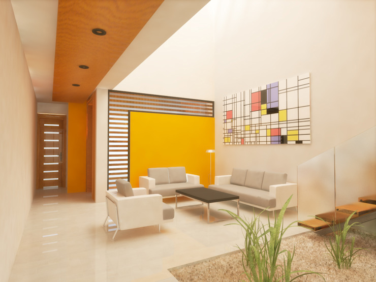 SALA DOBLE ALTURA Salones minimalistas de DLR ARQUITECTURA/ DLR DISEÑO EN MADERA Minimalista