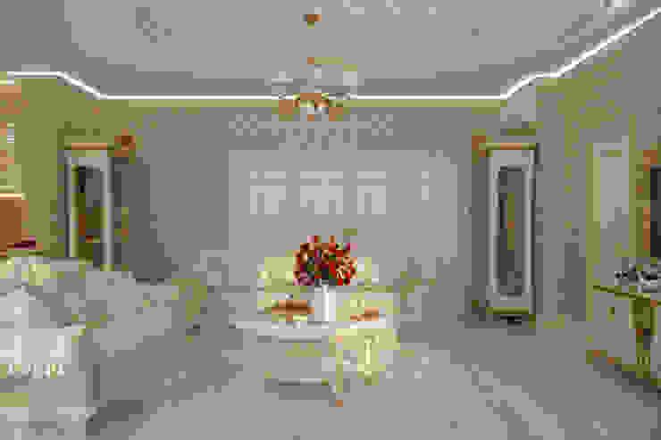 """Дизайн кухни-гостиной в классическом стиле в квартире в ЖК """"Ливанский дом"""", г.Краснодар Гостиная в классическом стиле от Студия интерьерного дизайна happy.design Классический"""