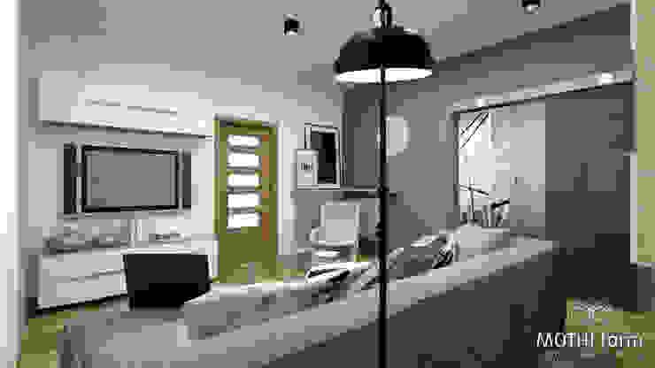 Niebieski akcent kolorystyczny dzieli dwa pomieszczenia od MOTHI.form