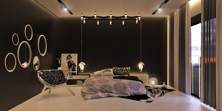 black and white bedroom Modern style bedroom by KARU AN ARTIST Modern