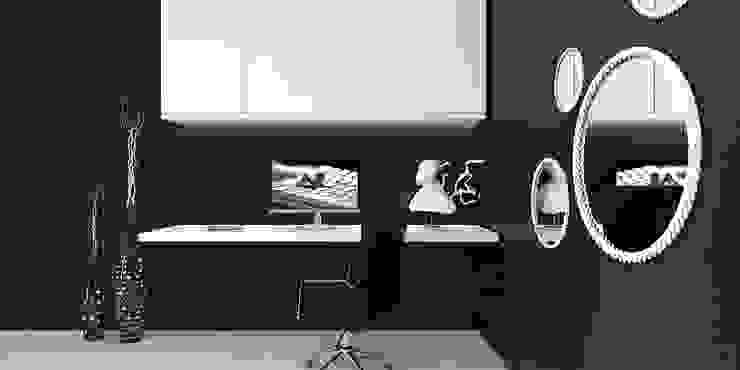 black and white bedroom Modern style bedroom by KARU AN ARTIST Modern