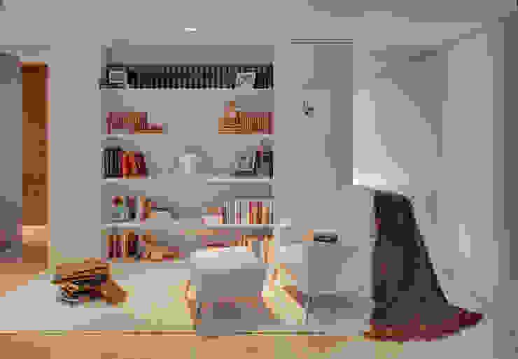 Vista geral zona de leitura Escritórios modernos por B.loft Moderno